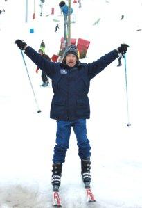 Dad Skiing